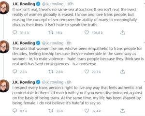 Réactions aux propos de J.K. Rowling